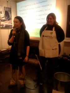 Hannah Renglich, animator extraordinaire of the Local Organic Food Co-ops Network gives greetings on behalf of the network and local organic farmer Debbie Sexsmith from Sexsmith Farm Co-operative talks about farming and the importance of co-ops.